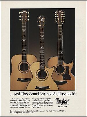 Taylor 6-string & 12-string acoustic guitar 1991 ad 8 x 11 advertisement print