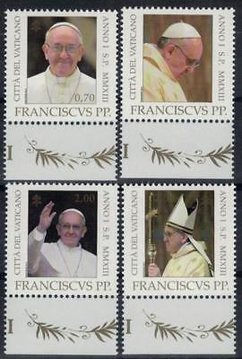 VATICAN 2013 Beginning of the Pontificate of Pope Francis set 4v MNH / B25190