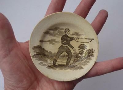 RARE Antique 19th Century Military CRIMEA Subject Pottery Plate RIFLE VOLUNTEERS
