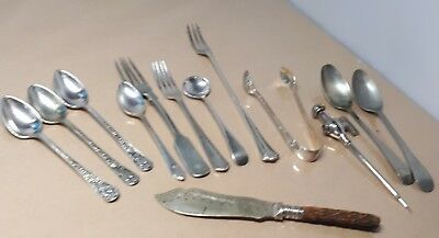 Job Lot Of Mixed Hallmarked Vintage Silver  Cutlery Forks Spoons