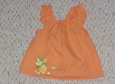Orange Gymboree Top w/ Lemon, Flowers & Bee, Lemon Bumblebee Layette, 18-24 mos