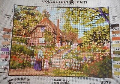 COUNTRY COTTAGE & STONE WALL - Tapestry to Stitch (NEW) by COLLECTION D'ART