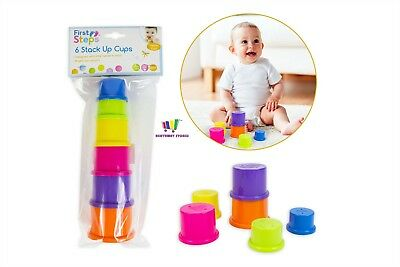 6 Stacking Cups Baby First Stack Up Cup Toy Gift Toddler Tower Toys Learning
