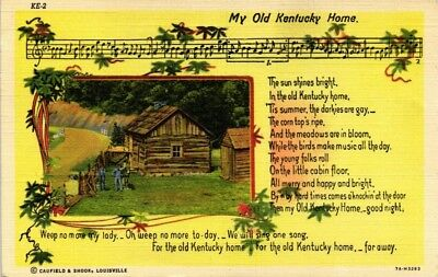 Dr Jim Stamps Us Old Kentucky Home Verse Music Linen Colortone Postcard