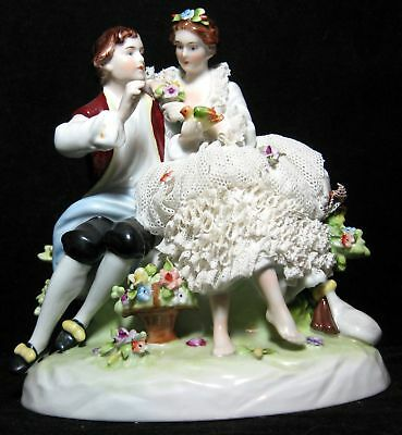 Unter Weiss Bach Dresden Porcelain Lace Figurine Of A Couple With A Bird