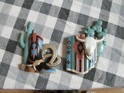 """southwest style skull and boot plastic wall plaques (5.5"""" tall)"""