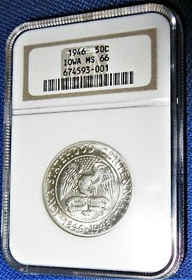 NICE! NGC MS 66 CERTIFIED 1946 IOWA STATEHOOD Commemorative SILVER HALF DOLLAR