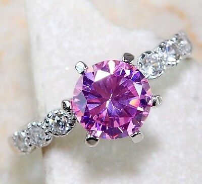 2CT Pink Sapphire & White Topaz 925 Solid Sterling Silver Ring Jewelry Sz 8
