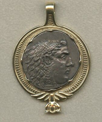 Ancient Greece Alexander the Great Tetradrachm Set in 14k Yellow Gold Bezel!