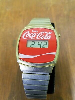 Vintage Coca Cola Red Dial Logo Digital Watch