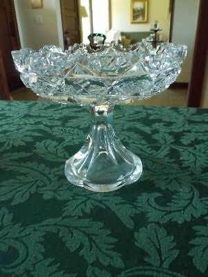 J. Hoare & Co Vintage American Brilliant Cut Glass Heavy Large Compote