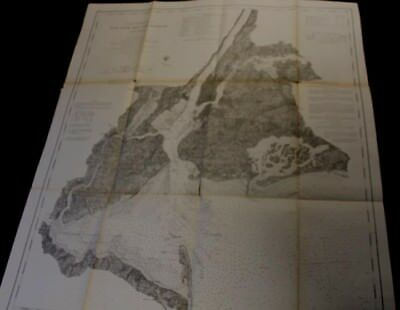 """1866 Extensively Detailed 32 1/2x28""""Coast Chart of New York Bay and Harbor"""