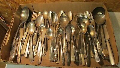 5 Pounds Old Silverplate Flatware Crafts & Jewelry  No. 1