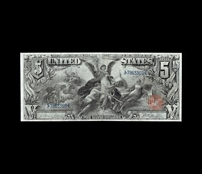 Stunning 1896 $5 Silver Certificate Education Apparent Strong Very Fine+