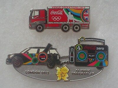 2 Coca Cola 2012 London Olympic Pins ~ Torch Relay & Venue Operations Truck