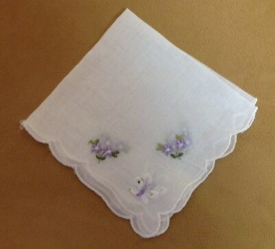 Vintage Ladies Hanky, Handkerchief, Embroidered Flowers, Butterfly, White