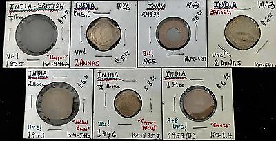 Lot Of (7) Coins From India 1835-1953  - Mixed Denominations  - High Grade !