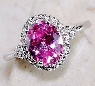 2CT Pink Sapphire & White Topaz 925 Solid Sterling Silver Ring Jewelry Sz 9