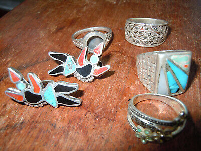 Sterling Silver Lot Of 5 Scrap 30 Gram 1 Ounces Southwest Turquoise Rings Etc