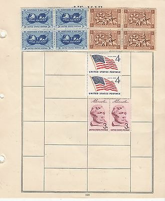 UNITED STATES 3c and 4c MINT BLOCKS AND PAIRS On Page