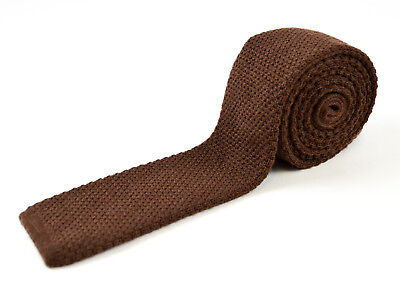 "New SANTOSTEFANO 54"" Brown Flat 2"" Tuxedo Formal Square Knit Tie NWT $195"