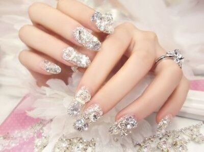 A36''Japanese Style Bling Bling Drill Nail Tips Completed Beautiful Fake Nails