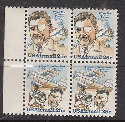 UNITED STATES 25c W Post AIRMAIL  Block of 4 MUH