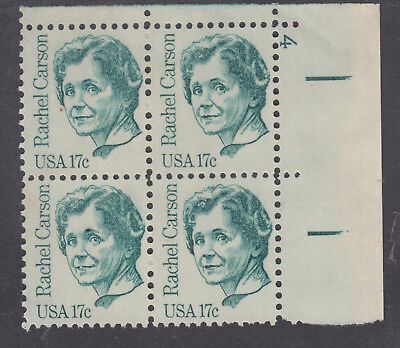 UNITED STATES 17c Rachel Carson PLATED  Corner   Block of 4 MUH