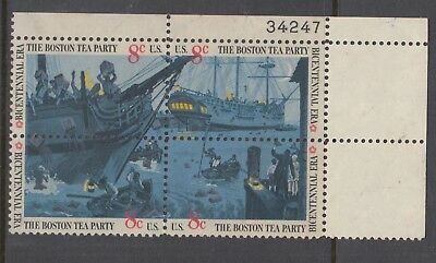 UNITED STATES 8c BOSTON Tea Party PLATED Block of 4 MUH.
