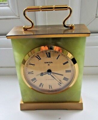 LOVELY SWIZA 8 DAY GREEN MARBLE/ ONYX BRASS MANTLE/DESK CLOCK - Working
