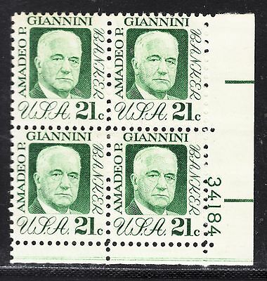 UNITED STATES 21c GIANNINI PLATE  Block of 4 MNH