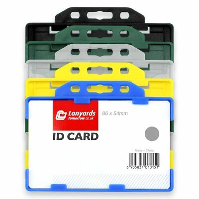 10x DOUBLE SIDED HORIZONTAL COLOUR Open Faced Plastic Rigid Badge ID Card Holder