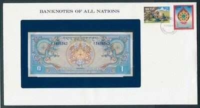 Bhutan: 1981 1 Ngultrum Banknote & Stamp Cover, Banknotes Of All Nations Series