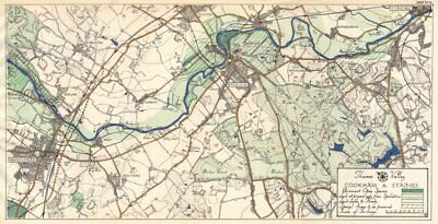 THAMES VALLEY. Maidenhead - Bray - Windsor - Slough - Egham - Staines 1929 map