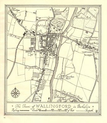 Town plan of WALLINGFORD, Oxfordshire. Thames Valley 1929 old vintage map