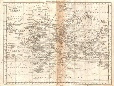 """A Mercator chart of the World by Thomas Bowen"" 1779 old antique map"