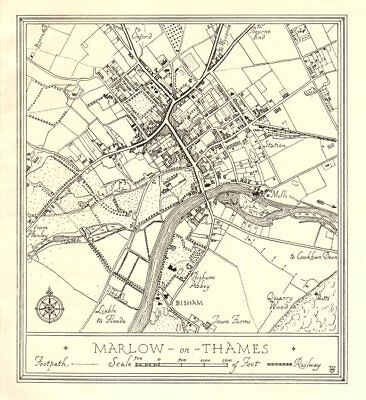 Town plan of MARLOW, Buckinghamshire. Thames Valley 1929 old vintage map chart
