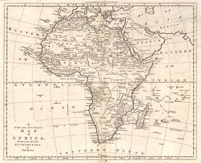 """A new and accurate map of Africa…"", by Thomas Bowen 1779 old antique"