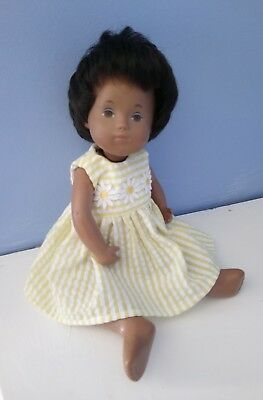 BJB Sasha toddler and baby dolls clothes  Lemon and white striped summer dress