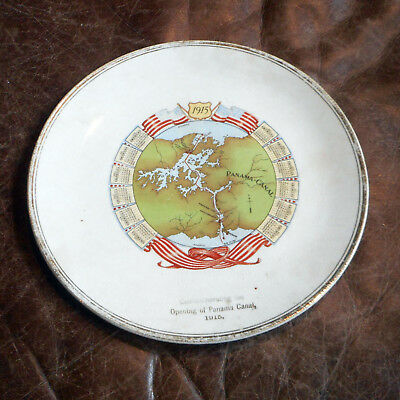 1915 Calendar Plate Commemorating the Opening of the Panama Canal Sterling China