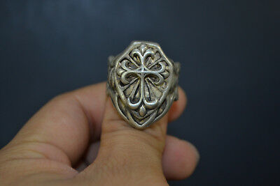 Vintage Collectible handwork Tibet Silver carve cross chinese totem man Ring