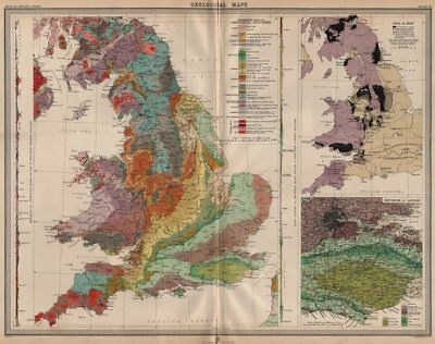ENGLAND AND WALES. Geology. Coal & iron deposits. Geological. LARGE 1903 map