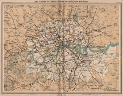 COUNTY OF LONDON. Showing Metropolitan Boroughs. Railways tube. LARGE 1903 map