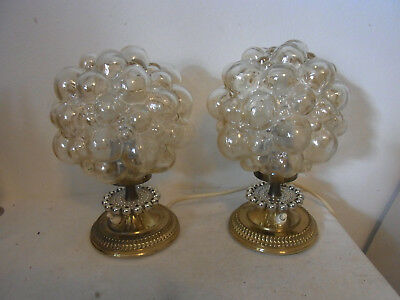 Pair Mid Century 60's Helena Tynell Bubble Glass Desk Nightstand Bedside Lamp