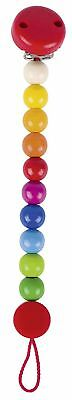 Heimess RAINBOW CLIP ON DUMMY/SOOTHER/PACIFIER CHAIN Wooden Baby/Toddler Toy BN