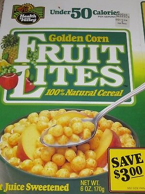 CLEARANCE 1991 Healthy Valley GOLDEN CORN FRUIT LITES Cereal Box empty flat