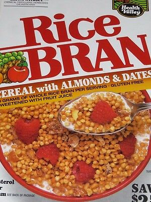 CLEARANCE 1990 Smaller 10 oz size Box Health Valley Rice Bran Cereal  empty flat