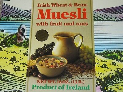 CLEARANCE CEREAL BOX 1990's Shamrock Irish Wheat Bran Museli Fruit Nuts