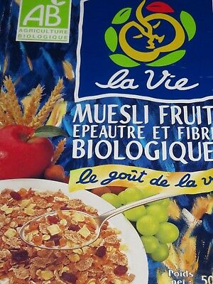 CLEARANCE CEREAL BOX 1999 Smaller 500G Box FRENCH La Vie Muesli Fruits
