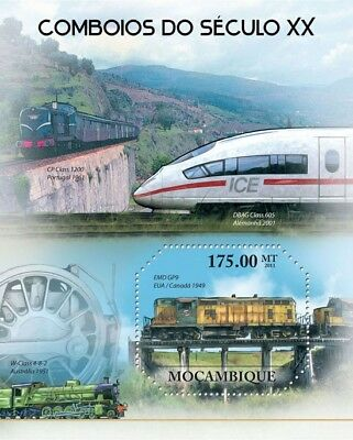 Trains of the 20th Century (GM EMD GP9 Locomotive) Stamp Sheet (2011 Mozambique)
